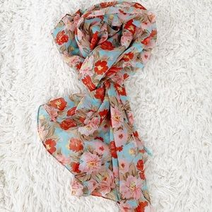 CHARMING CHARLIE Blue Red Pink Floral Sheer Scarf